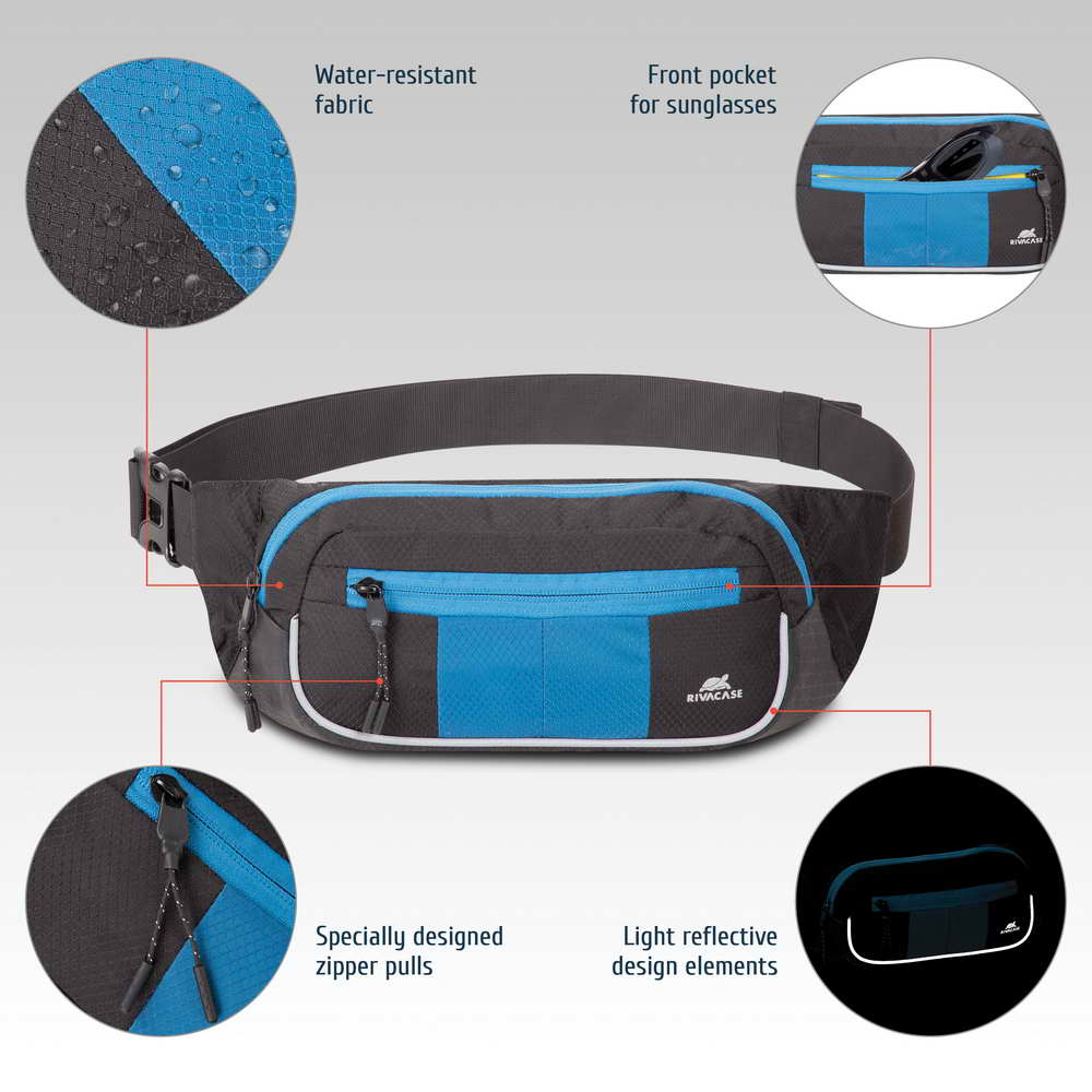 5215 black/blue Waist bag for mobile devices